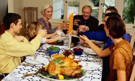 White people enjoy thanksgiving meal, while sharing their casual racist views.