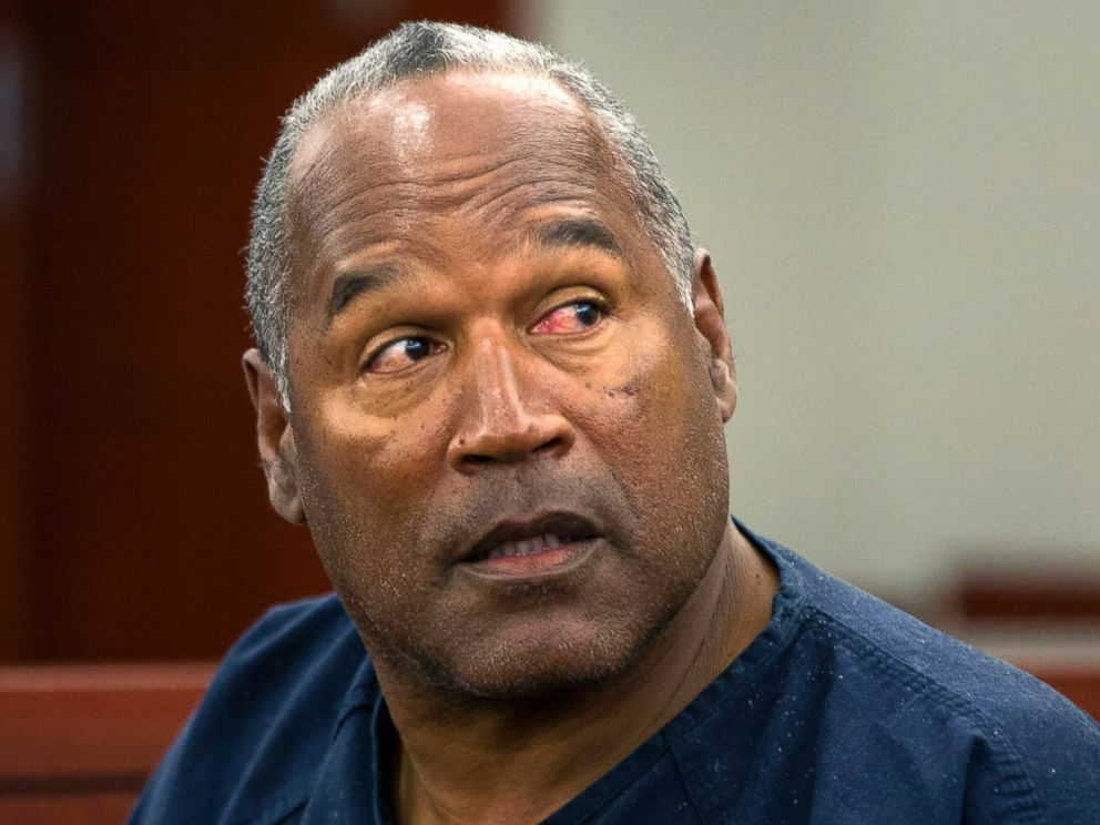 O.J. Simpson sitting in court during trial.