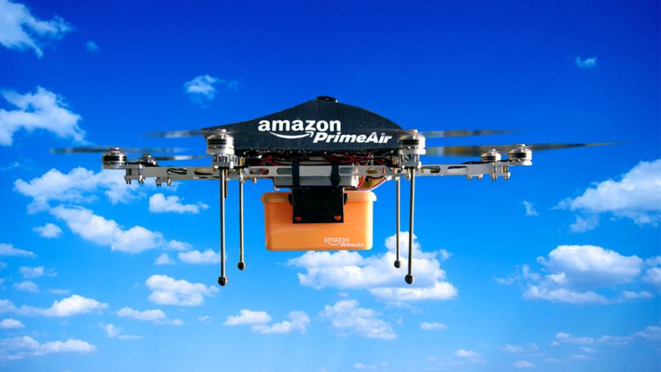 Amazon drone delivers amazon prime package and helps fulfill predictive shipping orders.