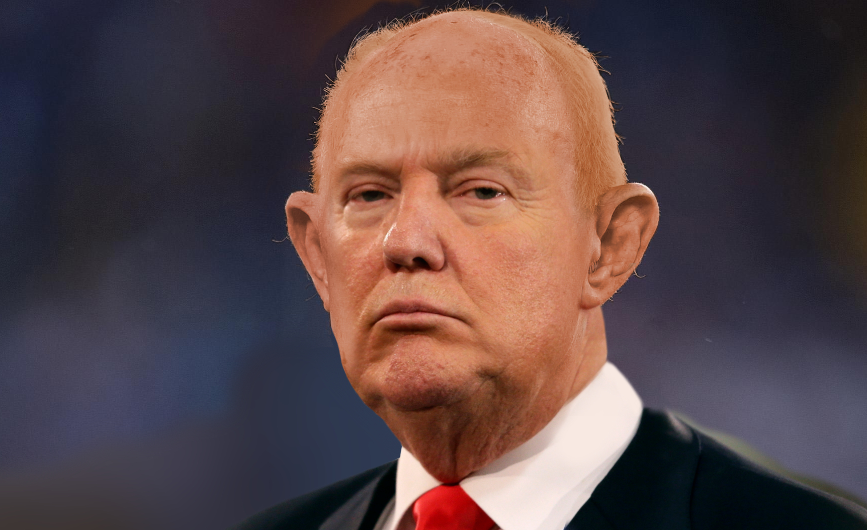Bald Donald Trump hobbles after his hair after a gust of wind stole it right off his head.