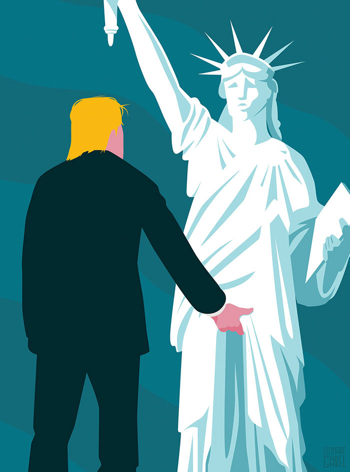 Trump grabs Lady Liberty by the pussy.