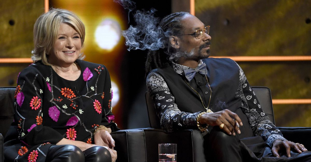 Martha Stewart and Snoop Dogg smoke cannabis together on live television.