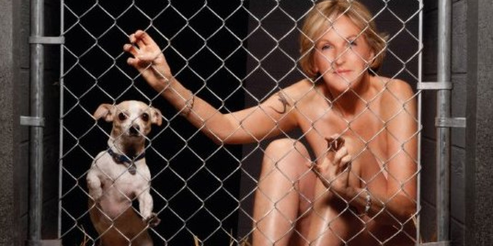 Ingrid Newkirk poses nude with small dog.